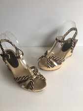 Brown Strappy Wedge Sandals With Gold Trim Size 7 M