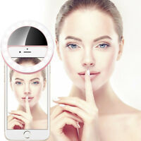 Beauty Selfie LED Ring Flash Light Universal Phone Rechargeable Fill Clip Camera