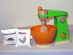 4Pc Hape Wood Mighty Mixer Kitchen Baking Pretend Play w Bowl Flour Brown Sugar