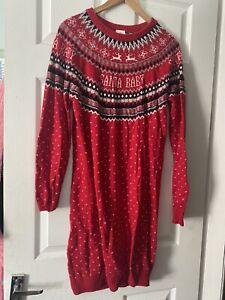 Womans H&M Jumper Dress Christmas Red - Size Medium