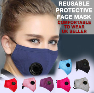Face Mask Washable Air Purifying Mouth Nose Valve Respirator - UK Seller