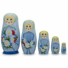 """Set of 5 Girls with Daisy Flowers & Blue Skirt Wooden Russian Nesting Dolls, 6"""""""
