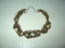 Vintage Signed CORO Goldtone & Baby Teeth Pearl & Colored Crystal Bracelet