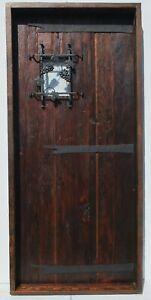 Rustic reclaimed lumber square top door solid wood wine cellar castle iron grape