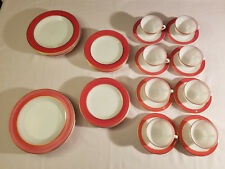 Vintage 1950's Pyrex Pink Flamingo Gold Rim Dinner Plates Tea Cups 32 Piece Set