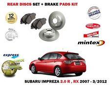 FOR SUBARU IMPREZA 2.0i R RX 2007-2012 NEW REAR BRAKE DISCS SET + DISC PADS KIT