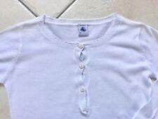 Pull en coton blanc manches longues à col rond boutonné PETIT BATEAU 6 ans