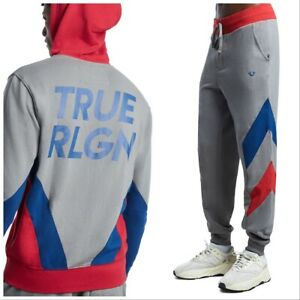TRUE RELIGION Men's Chevron Panel Sweatsuit, Size L