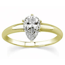 Diamantring Solitär 0,50 ct. Tropfenschliff 585 14K Gelbgold + GIA Zertifikat