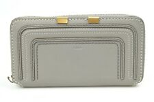 Chloe Marcie Long gray leather zip continental wallet clutch purse NEW $550