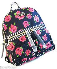 Betsey Johnson Backpack Floral Roses Dots 2 Pocket Black Pink - NEW