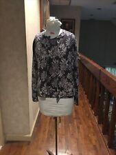 Adrienne Vittadini Women's Wool/Angora Beaded Floral Cardigan Sweater Set Gray M