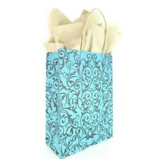 LDW 12 Turquoise Spiral Kraft Handle Paper Party Favor Wedding Gift Bags