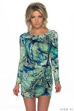 Sexy Kleid Party Minikleid Langarm Freizeit Herbs Gr. 38/40 Multicolor-Grün-Blau