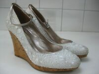 Ladies DUNE white ivory court shoes wedge UK 6 39 prom wedding high heels silk