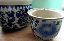 Vintage 3 Blue-White Porcelain Planters Flowers Pot  Home Decor Hand Painted