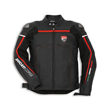 DUCATI CORSE Black/White and Red Motorbike Motorcycle Motogp Leather Jacket