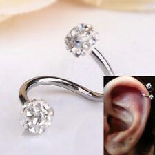 Rhinestone Stainless Steel Twist Ear Helix Cartilage Earring Stud Body Piercing