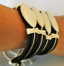 Tribal Bracelets New with tags Set of 4 Handmade black Leather