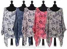 New Ladies Floral lagenlook Batwing Top Women Floral Linen Tunic Top Plus sizes