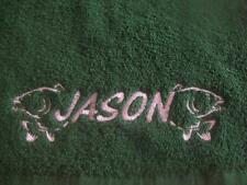 Personalised fishing towel with your choice of colour and name on towel.