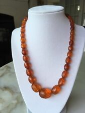 Vintage Antique Faceted Golden Honey Amber Graduated Bead Necklace 19.5""