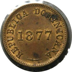 elf Dominican Republic 1 Centavo 1877 Waterbury Mint, USA  D78