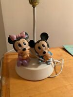 VTg  1984 Disney Baby MICKEY MINNIE Mouse Nursery Lamp W/ Nightlight Tested P55