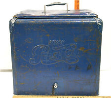 Vintage 1950's Pepsi-Cola Picnic Cooler Blue Metal +Tray & Bottle Opener +Drain