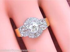 ANTIQUE 1.15ctw EURO & ROSE DIAMOND 18K PLATINUM CLUSTER RING 1930