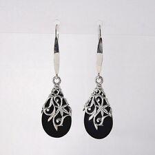 925 Sterling Silver Delicate Lace Design Black Teardrop Dangle Drop Earrings