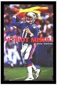 SIGNED Drew Bledsoe Patriot Missile 1997 Rare 35x23 Sports Art Print Poster