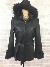 Wilsons Leather Heavy Black Hooded Jacket Coat Faux Fur Lined Womans Medium M