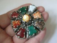 Vintage Claw Set Agate Glass Stone Silver Tone Scottish Celtic Cross Brooch Pin