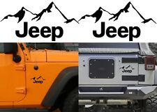 "(2) Gloss Black 4"" x 6"" Jeep Mountain Vinyl Decal Stickers New Free Shipping USA"