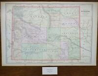 "Vintage 1900 WYOMING Map 22""x14"" ~ Old Antique Original CASPER CHEYENNE SHERIDAN"