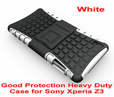 White Heavy Duty Strong Tradesman TPU Hard Case Cover Stand For Sony Xperia Z3