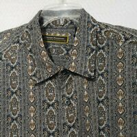 GEORGE FOREMAN SIGNATURE COLLECTION Gray multicolor SILK SHIRT LONG SLEEVE  2XT