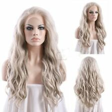 Fashion Long Wavy Hair Ash Blonde Lace Front Wig Synthetic Heat Resistant Hair