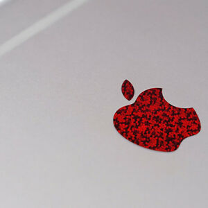 Red Glitter Color Changer Overlay for Apple iPhone X Logo Vinyl Decal