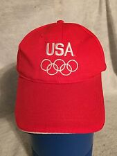 Team USA Baseball Style Hat Cap. Red W/ White Stitched Letters. Olympics. 1 Sz