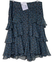 ISHKA | Lined Tiered Ruffle Skirt With Floral Chiffon Overlay|  | BNWT | Size L