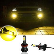 1Pair JDM Gold Yellow 3K H11 H8 COB CSP LED Fog Lights Bulbs w/ Strobe Function
