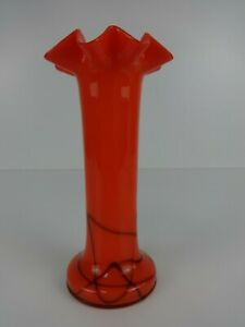 Mid Century Modern Retro Vase Orange Freeform Cylinder Flower Display Design