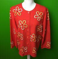 Coldwater Creek Womens Sz M Blazer Jacket Red Linen Blend Embroidered Sequins