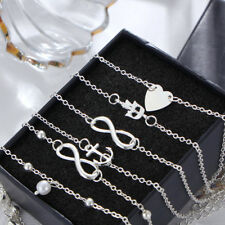 5Pcs/Set Heart Alloy Foot Chain Womens Summer Beach Anklet Bracelet Jewelry Sets