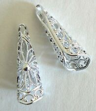 Filigree Vintage Beads From West Germany Light Weight Never Worn Silver Tone
