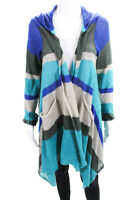 Scoop NYC Womens Long Sleeve Hooded Striped Open Front Cardigan Linen Size Large