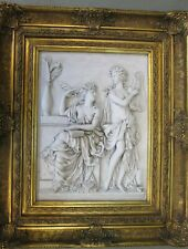 High Relief Framed Stone Classical Revival Women Bas-Relief
