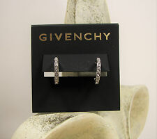 Givenchy Legacy Swarovski Crystal Pave' Hoop Silver Tone Earrings MSRP $35